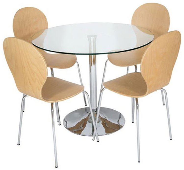 LEVV RDC CHLW Roma Light Wood And Clear Dining Set