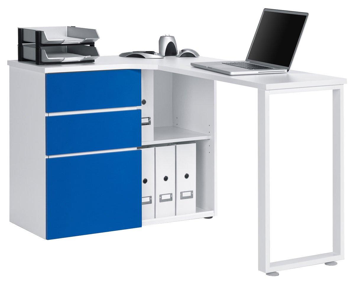 Maja Penninsular White & Blue Corner Desk