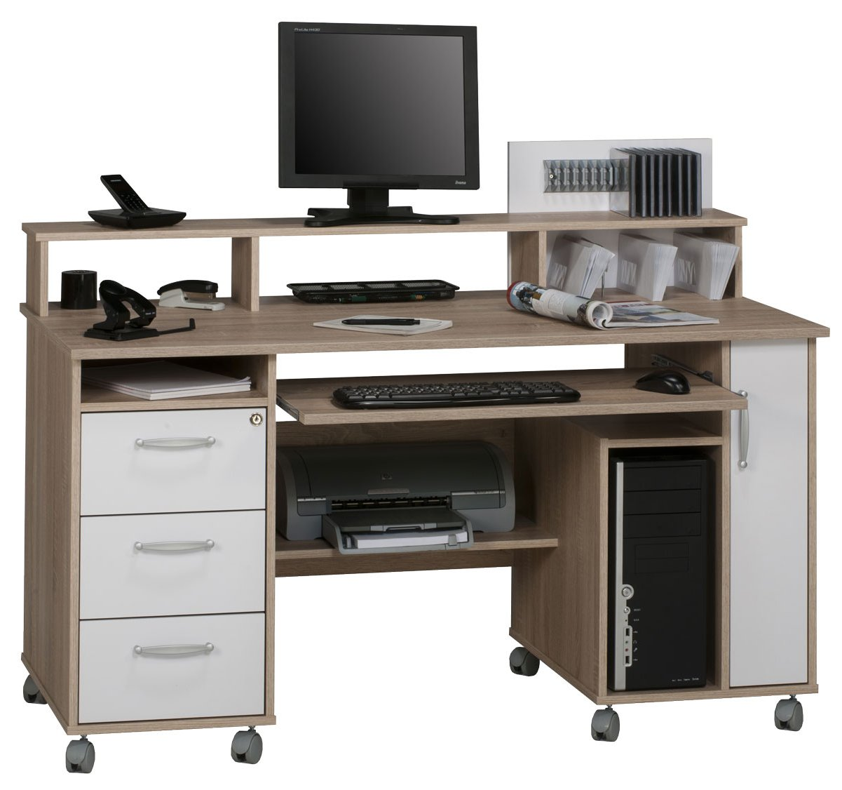 Maja Exeter Oak White Computer Desk