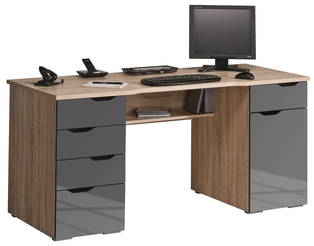 Maja malborough oak grey computer desk for Meuble informatique bois