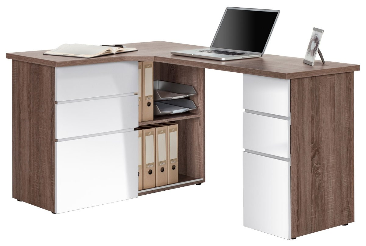 Maja Oxford Truffle Oak White Corner Desk