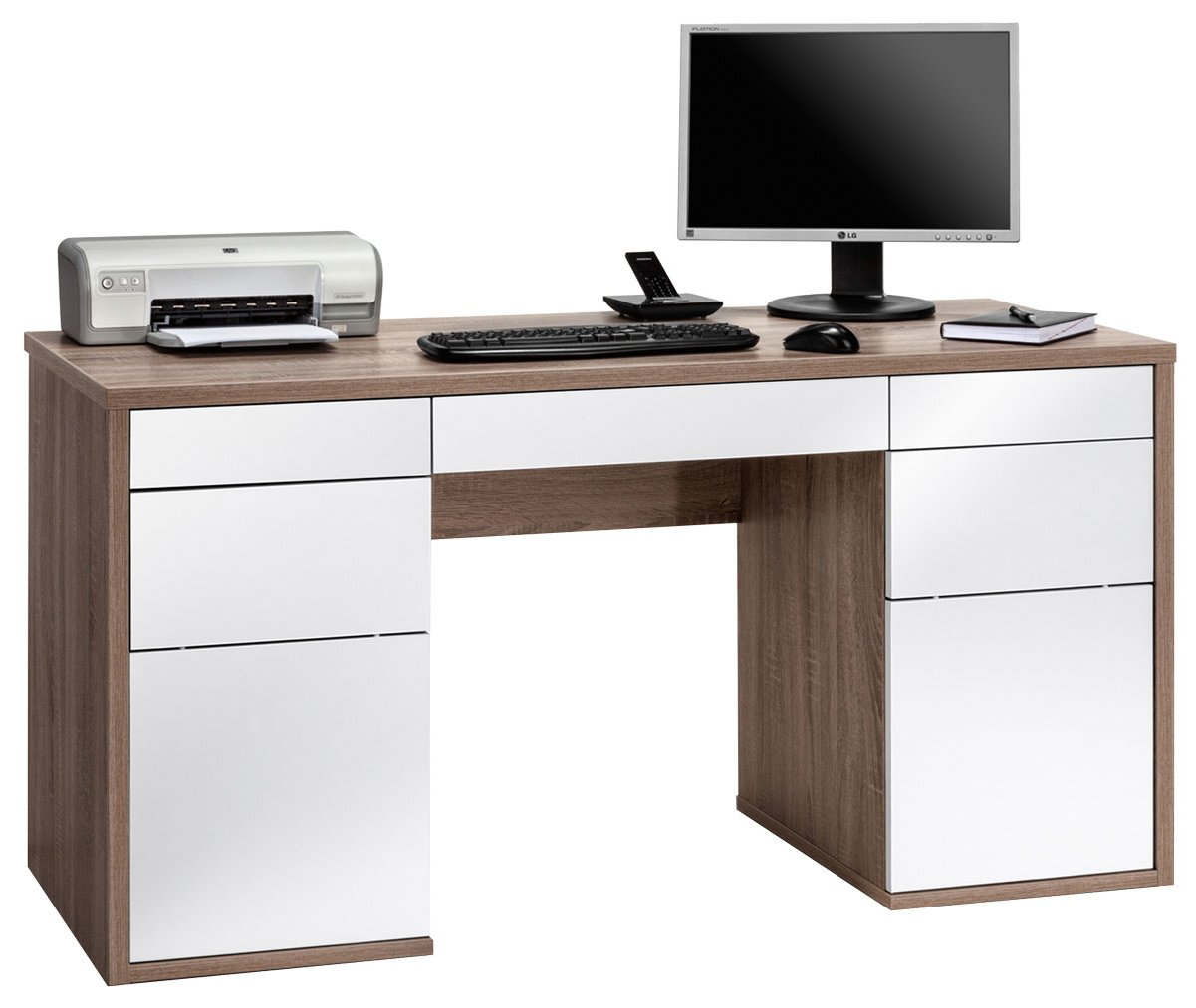 Maja salzburg oak white computer desk for Computer desk