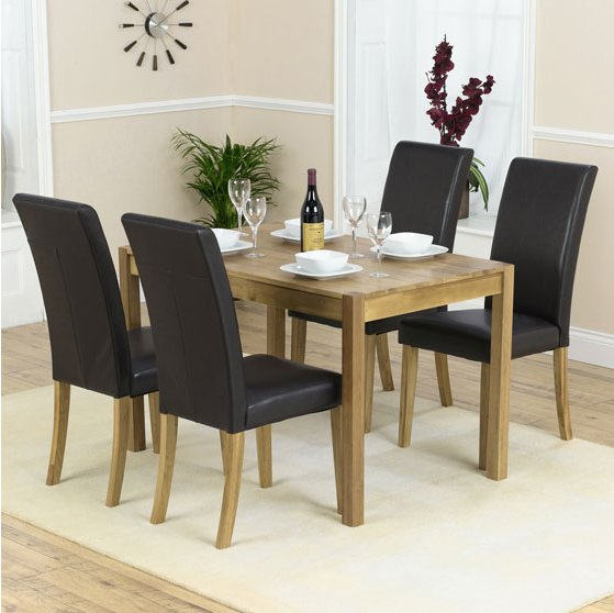 Atlanta Solid Oak Black Dining Set With 4 Chairs