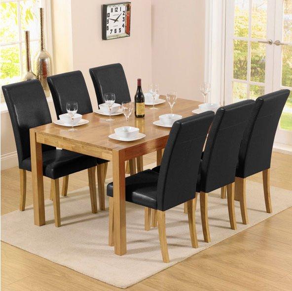 dining room tables atlanta promo atlanta solid oak amp black dining set with 6 chairs. Interior Design Ideas. Home Design Ideas