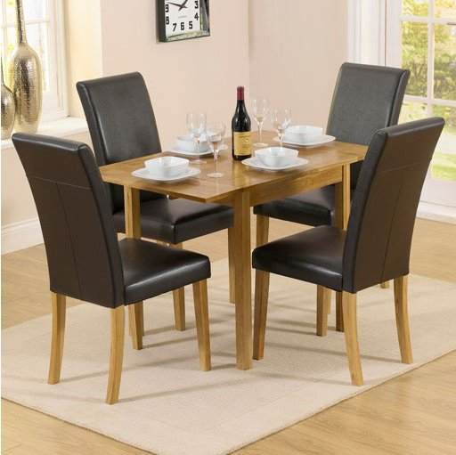 Solid Oak Drop Leaf Table 4 Black Chairs
