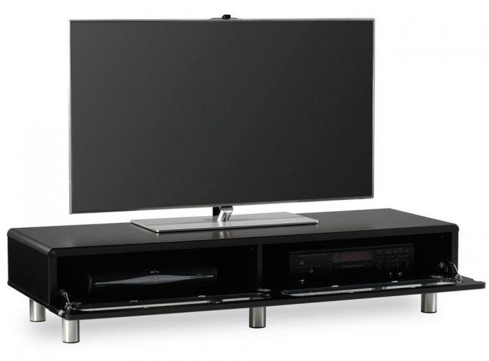 Ambri Ultra Low Board Gloss Black LCD TV Stand With Flip Drawer