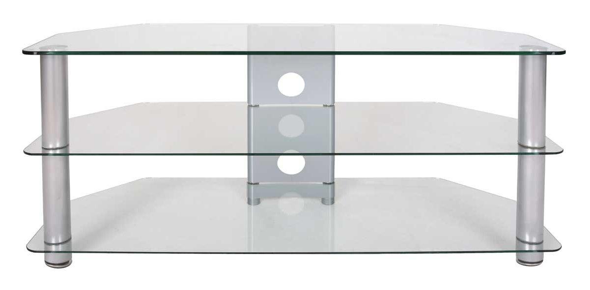 tru vue large clear glass corner tv stand. Black Bedroom Furniture Sets. Home Design Ideas