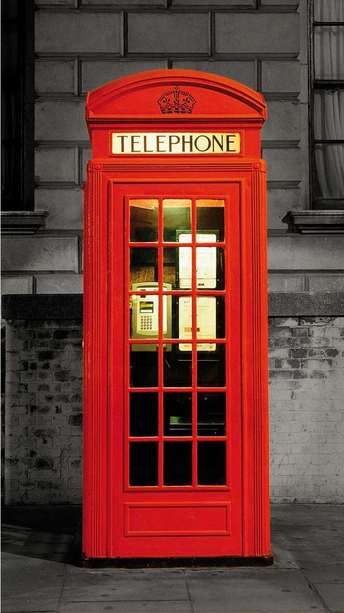 1wall British Red Phone Box Door Mural