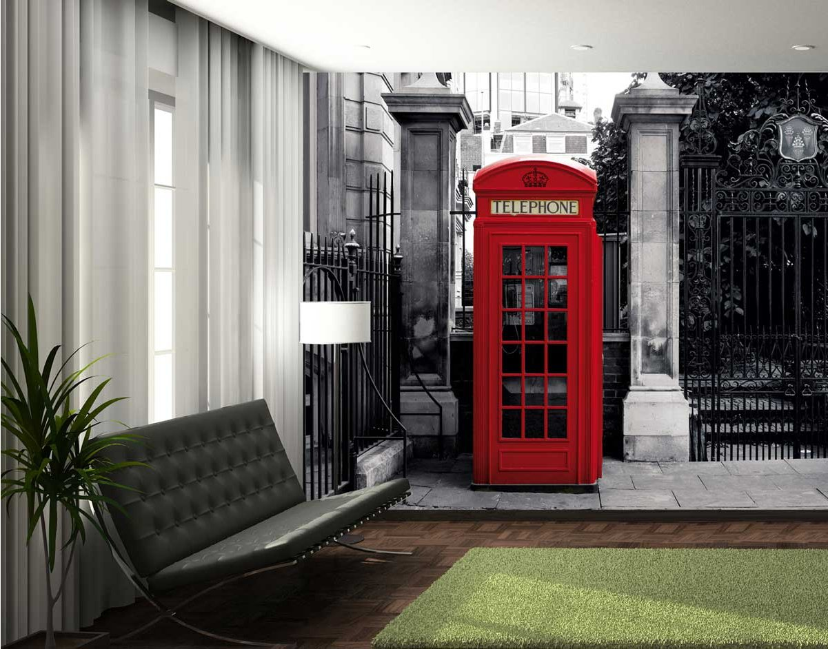 1Wall Giant Red Telephone Box Wall Mural
