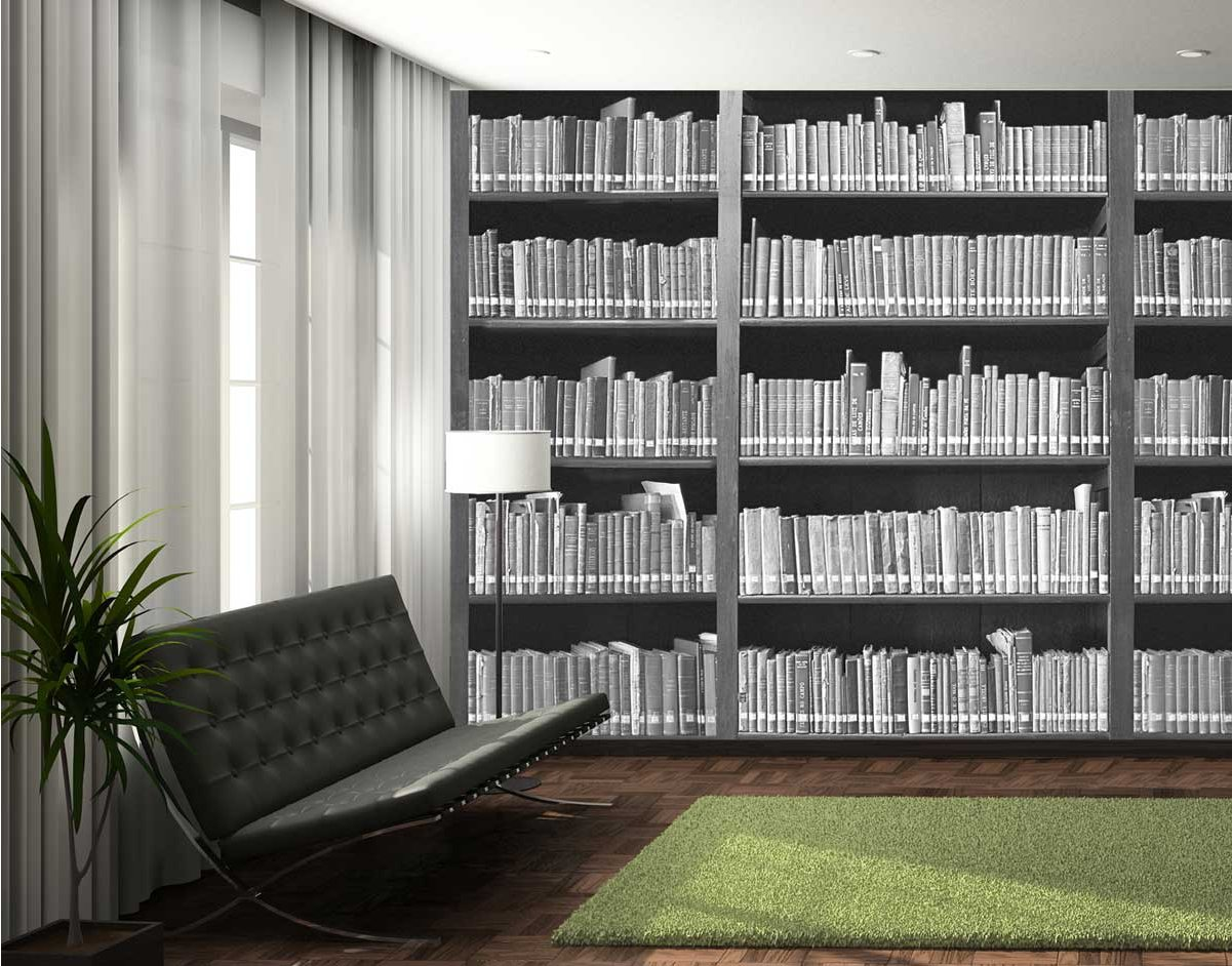 1wall giant monochrome bookshelf wall mural for Bookcase wall mural