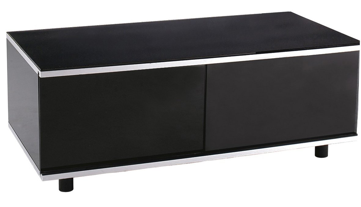 MDA Image AV Black TV Cabinet with Remote-Friendly Glass Sliding Doors