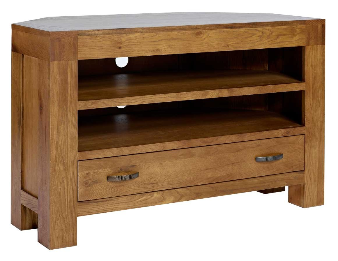 "Ametis Santana Rustic Oak Corner TV Stand for up to 50"" TVs"