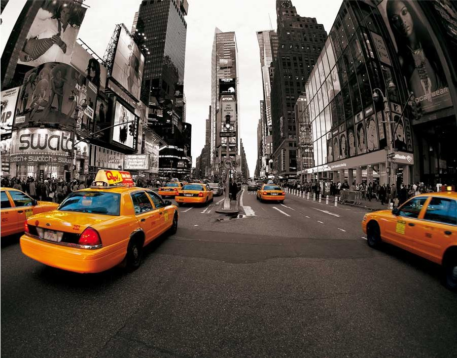 1wall new york taxi cabs wall mural. Black Bedroom Furniture Sets. Home Design Ideas
