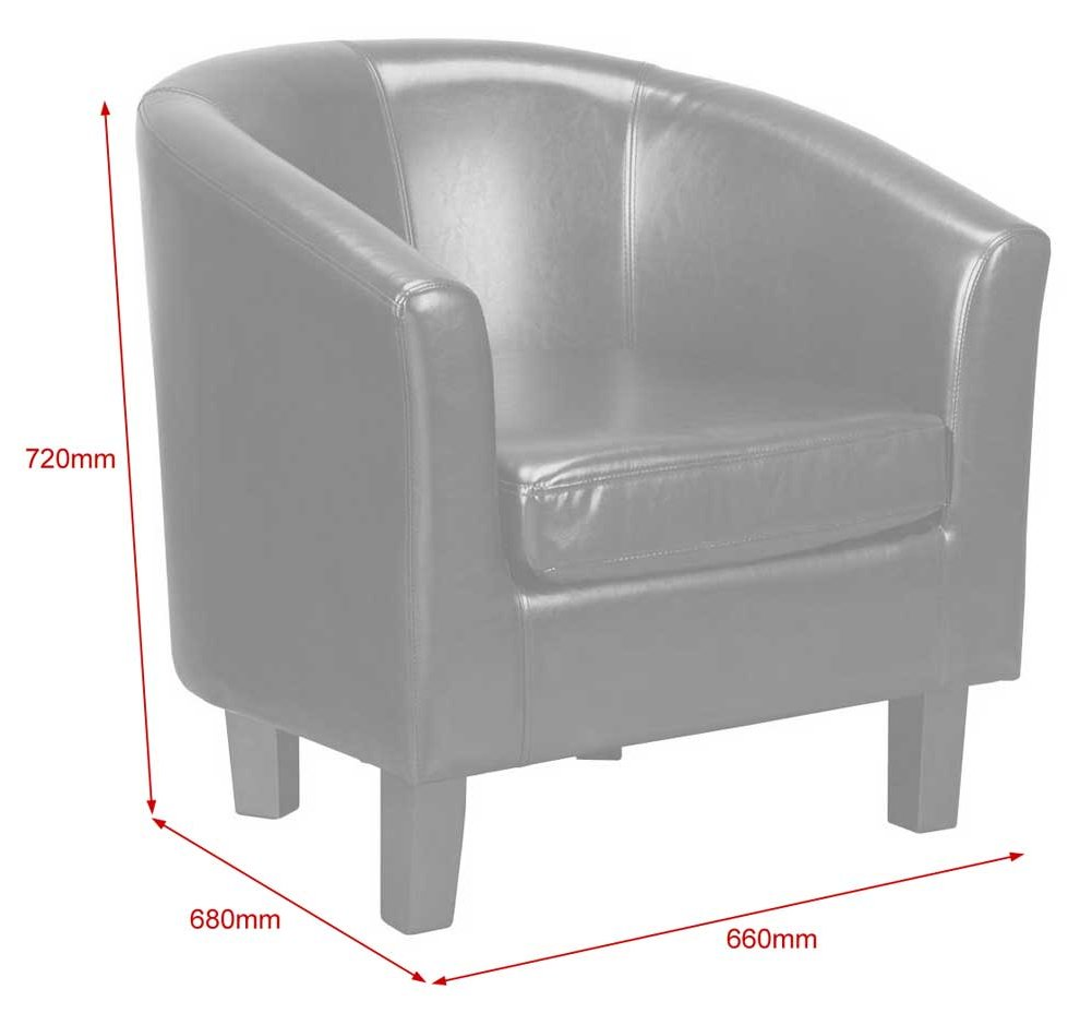 Pu Leather Tub Chair In Black Alternative Image