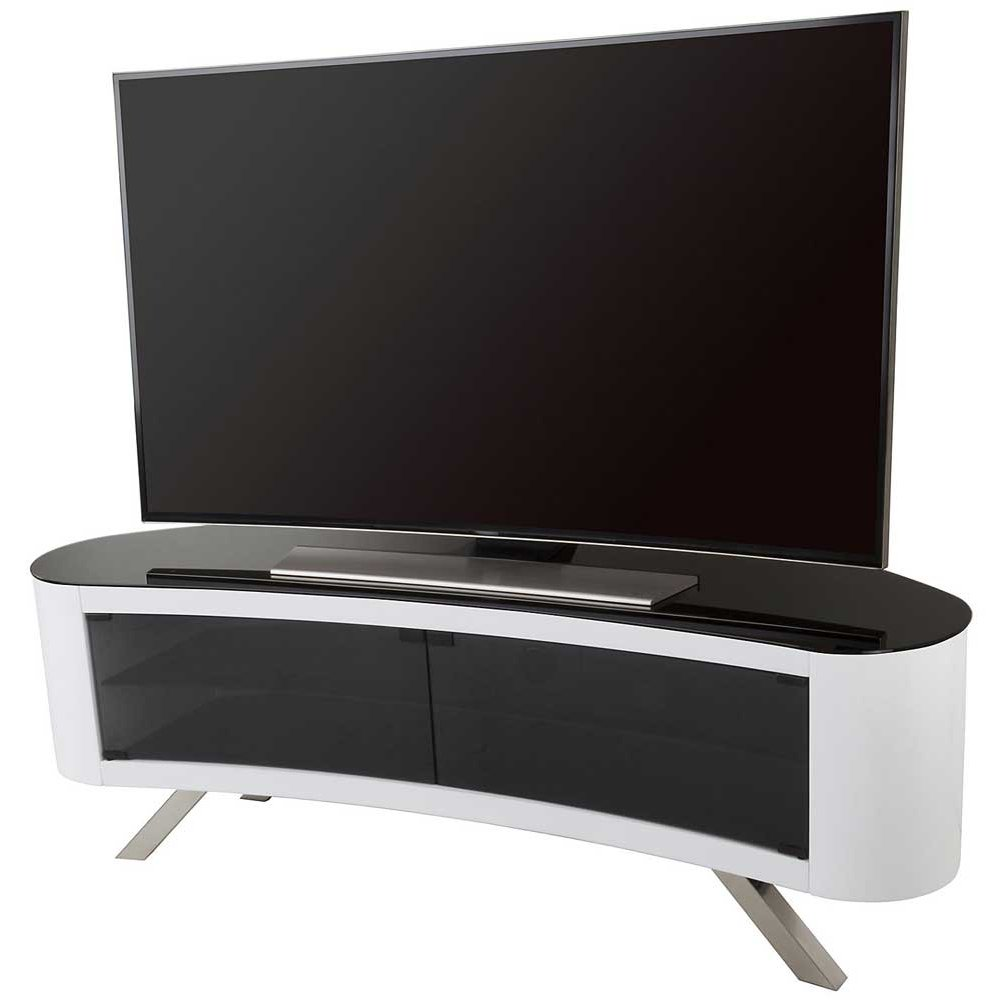 avf bay curved tv stand in white. Black Bedroom Furniture Sets. Home Design Ideas