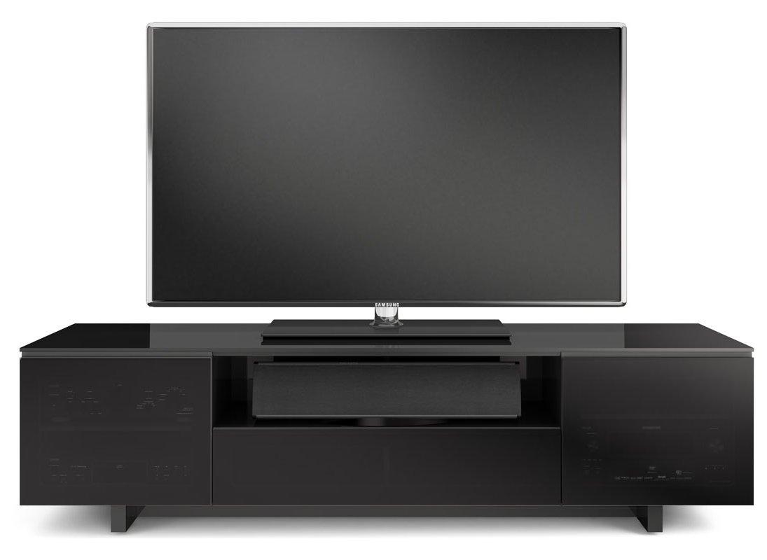 Bdi Nora Slim Black Gloss Tv Cabinet