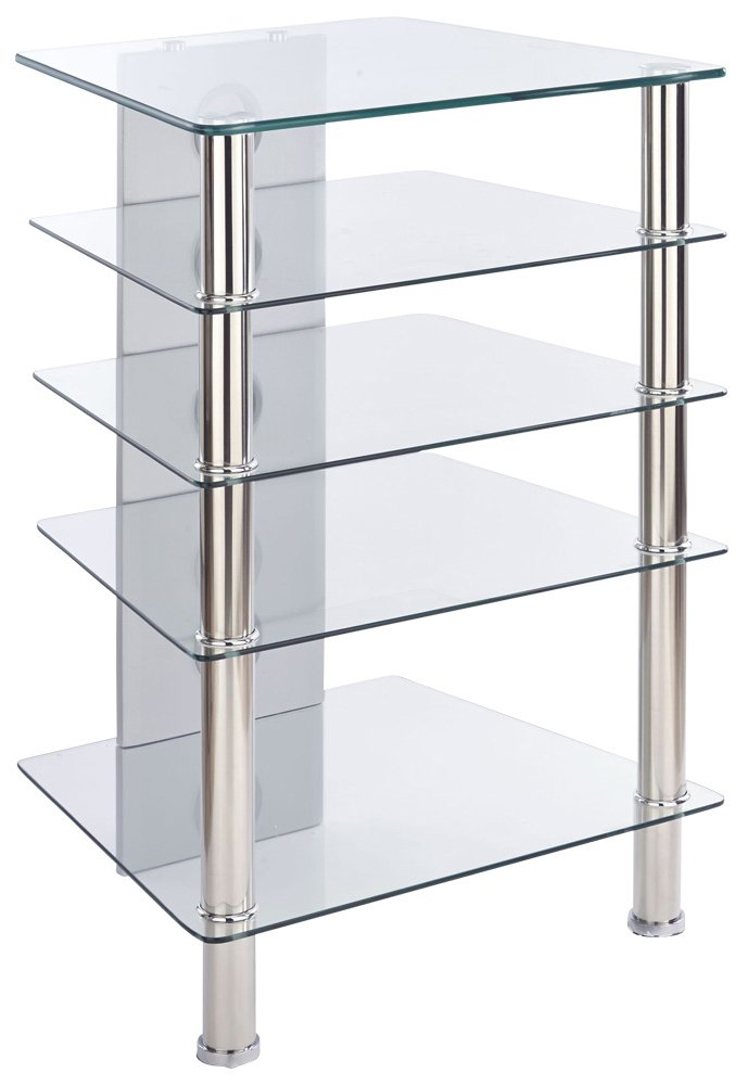 mmt 5 shelf premium clear glass hifi stand. Black Bedroom Furniture Sets. Home Design Ideas