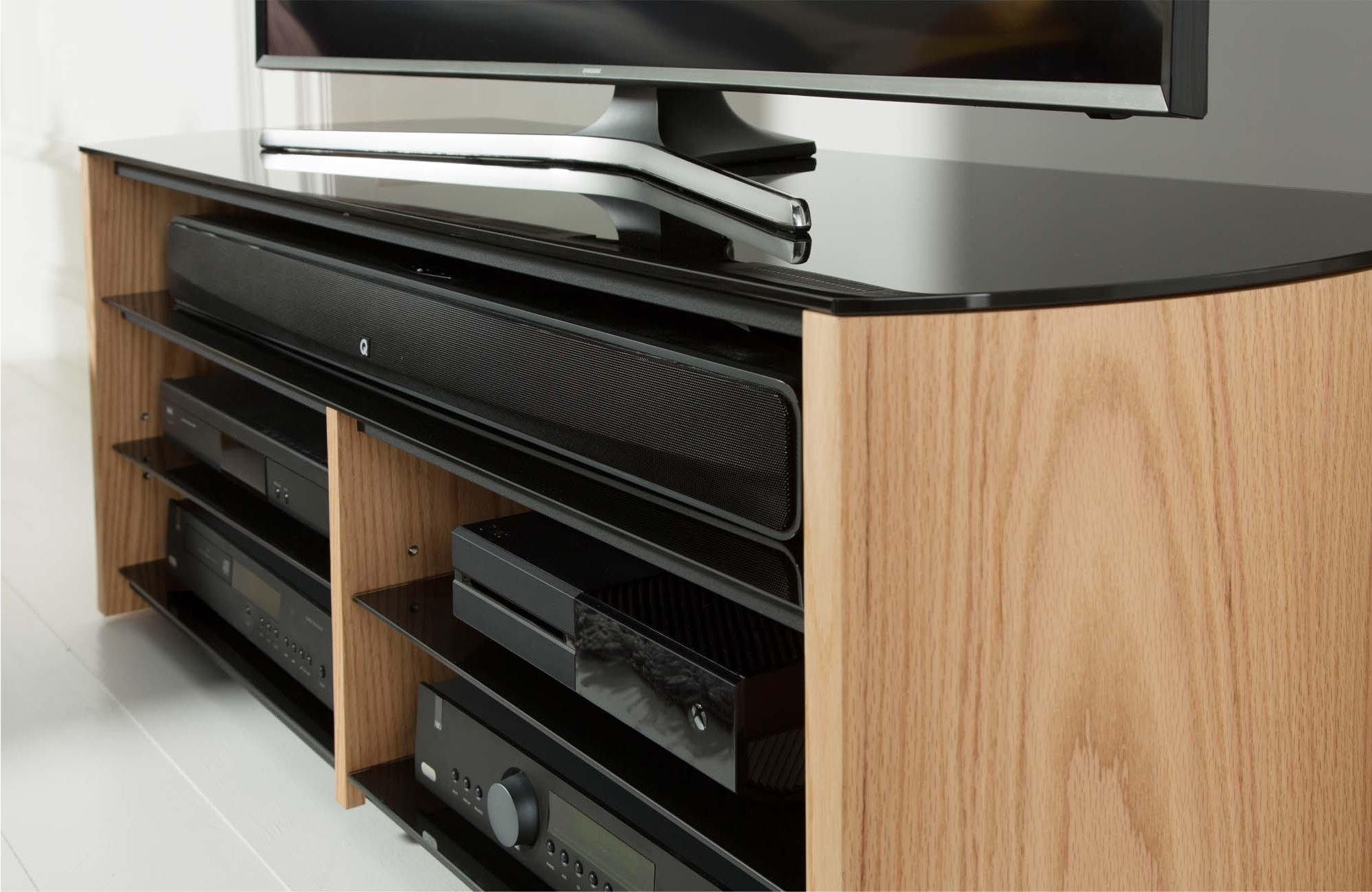 Alphason Finewoods Oak Tv Stand With Soundbar Shelf # Meuble Tv Alphason