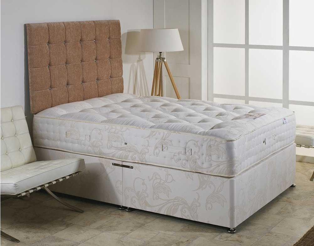 Luxan elizabeth no drawers with headboard 4 39 6 divan for Divan bed no mattress
