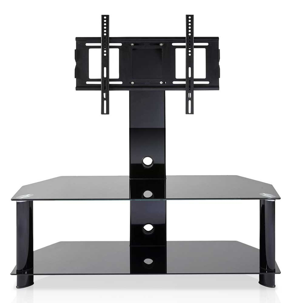 mmt cb110 2 black glass cantilever tv stand. Black Bedroom Furniture Sets. Home Design Ideas