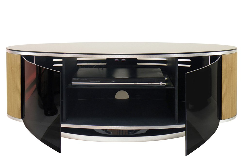 MDA LUNA High Gloss Black Amp Oak Oval TV Cabinet