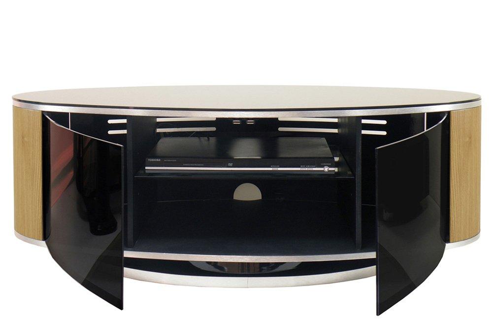 Mda Luna High Gloss Black Amp Oak Oval Tv Cabinet