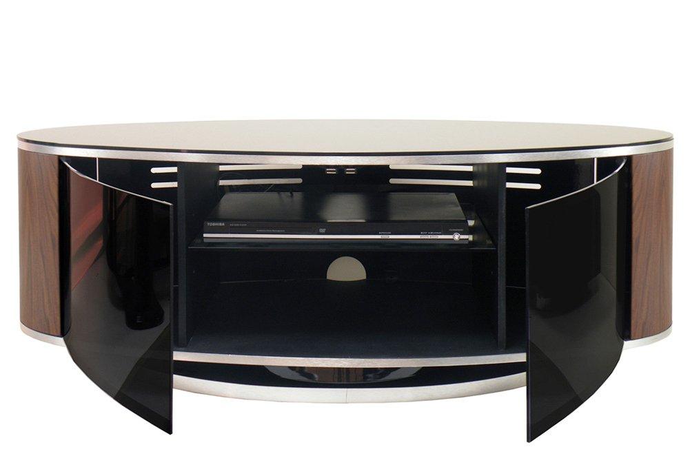 Mda Luna High Gloss Black Amp Walnut Oval Tv Cabinet