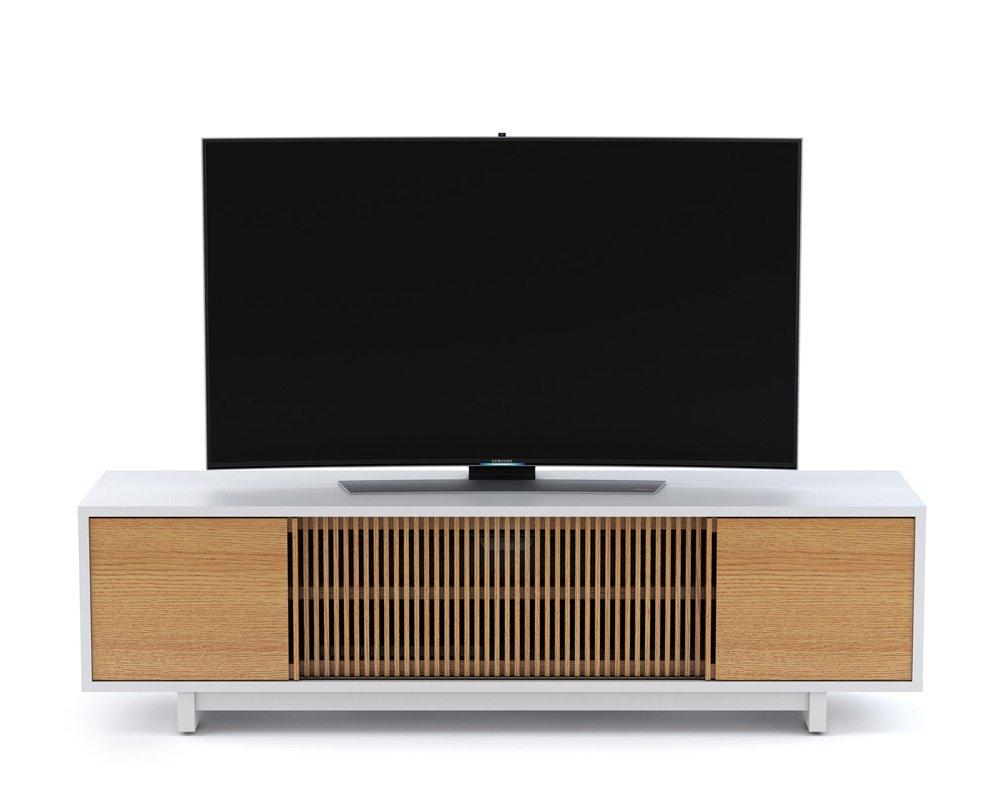 Bdi vertica white oak low tv stand Oak tv stands