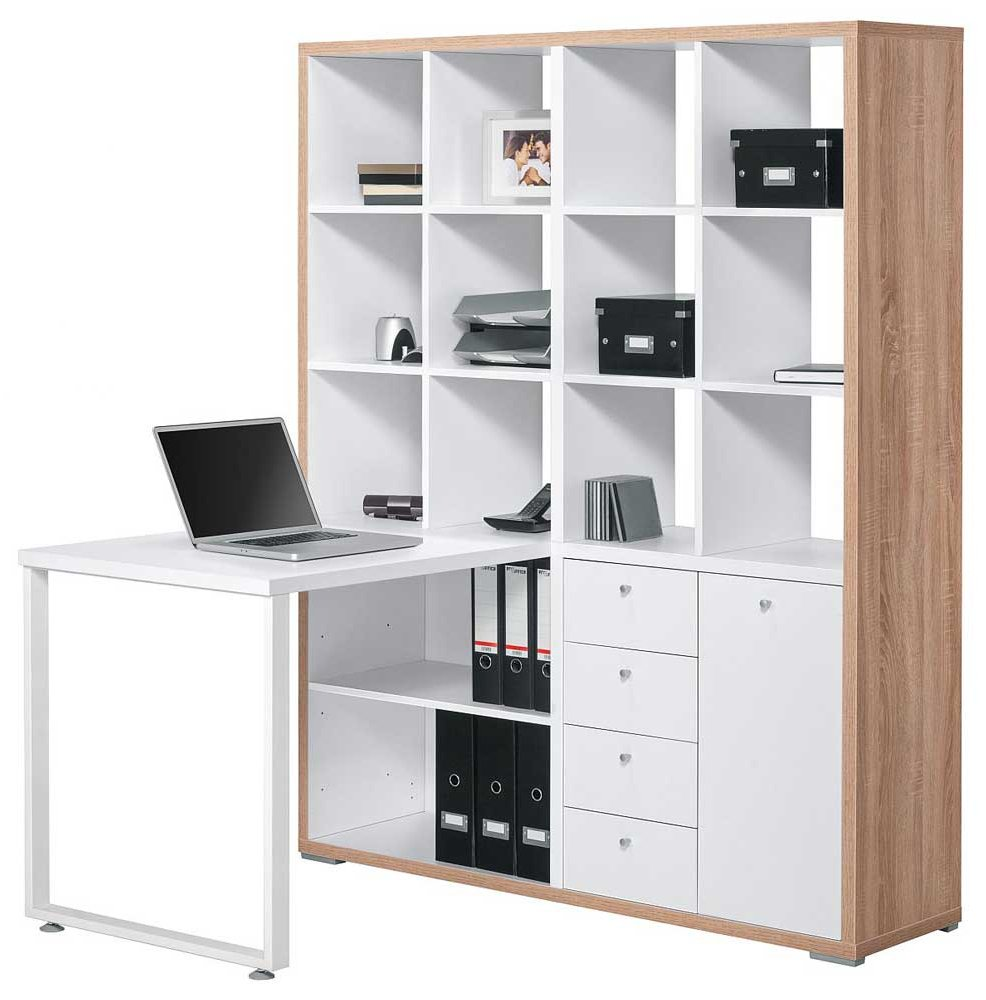 maja 9560 sonoma oak white mini office. Black Bedroom Furniture Sets. Home Design Ideas