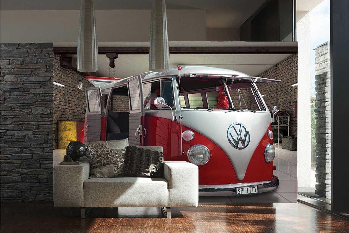 1wall W4pl Vw 003 Volkswagen Camper Van Wall Mural Red