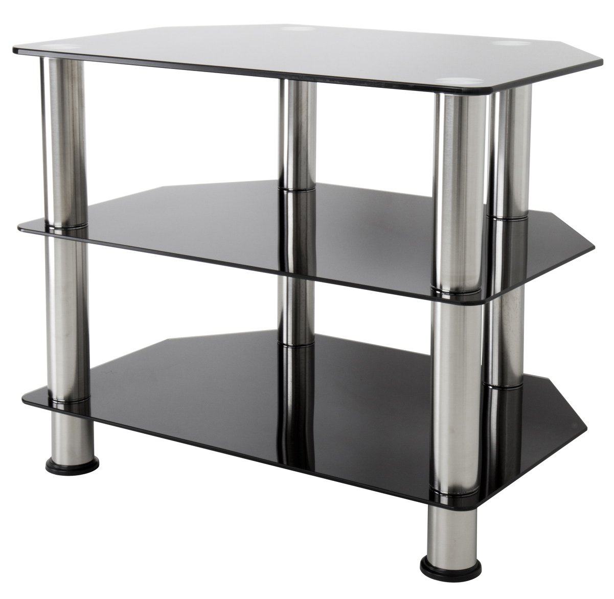 Avf Sdc600 Universal Black Glass And Chrome Legs Tv Stand