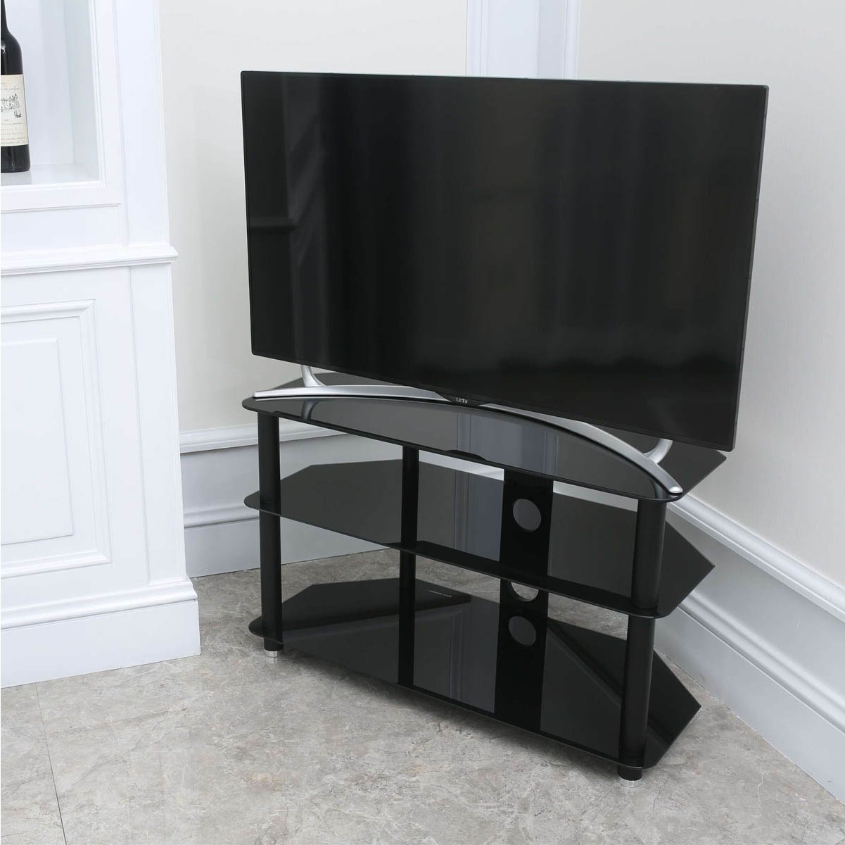 stealth mounts 1000mm black glass tv stand for tvs up to 50 alternative image