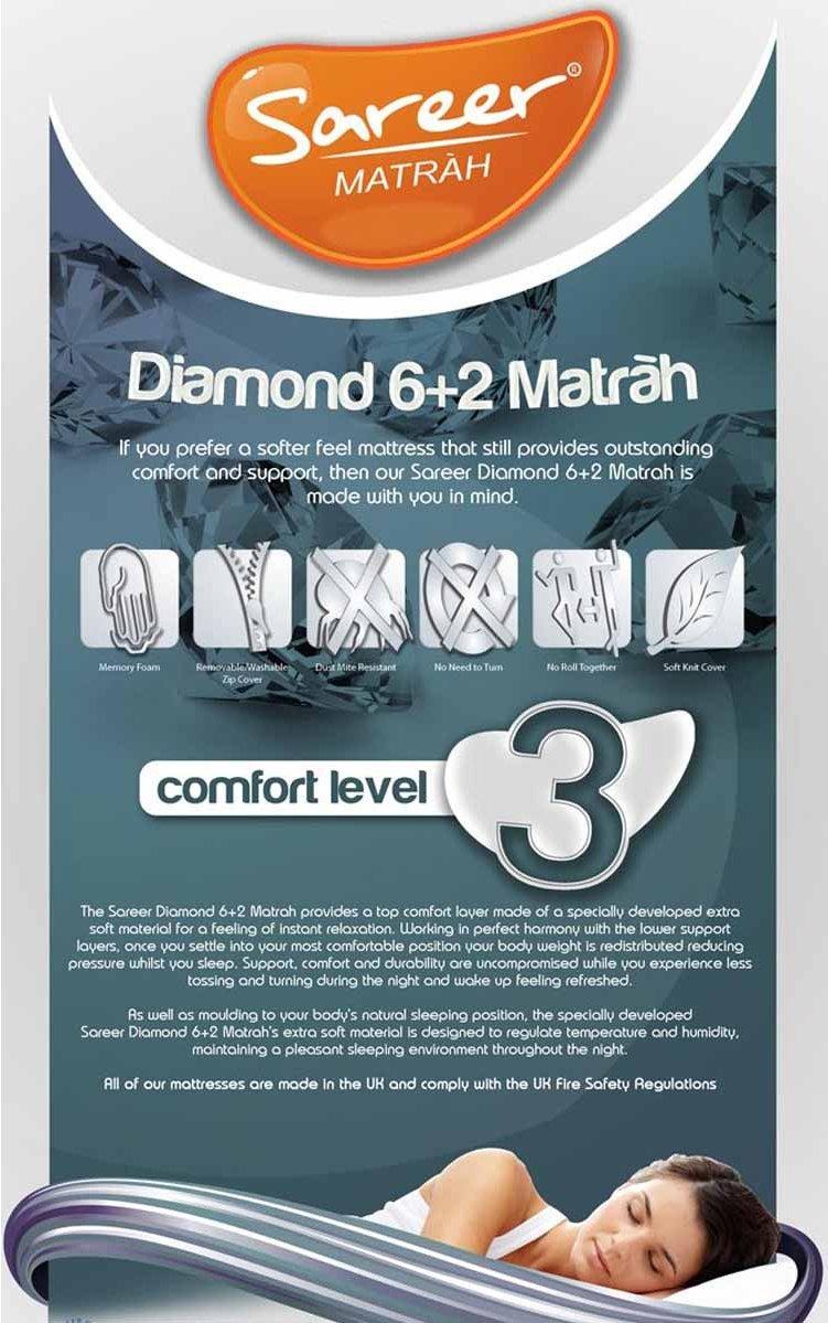 Sareer Furniture Sare Mfm6 2 Diamond 6 2 Memory Foam Mattress Medium