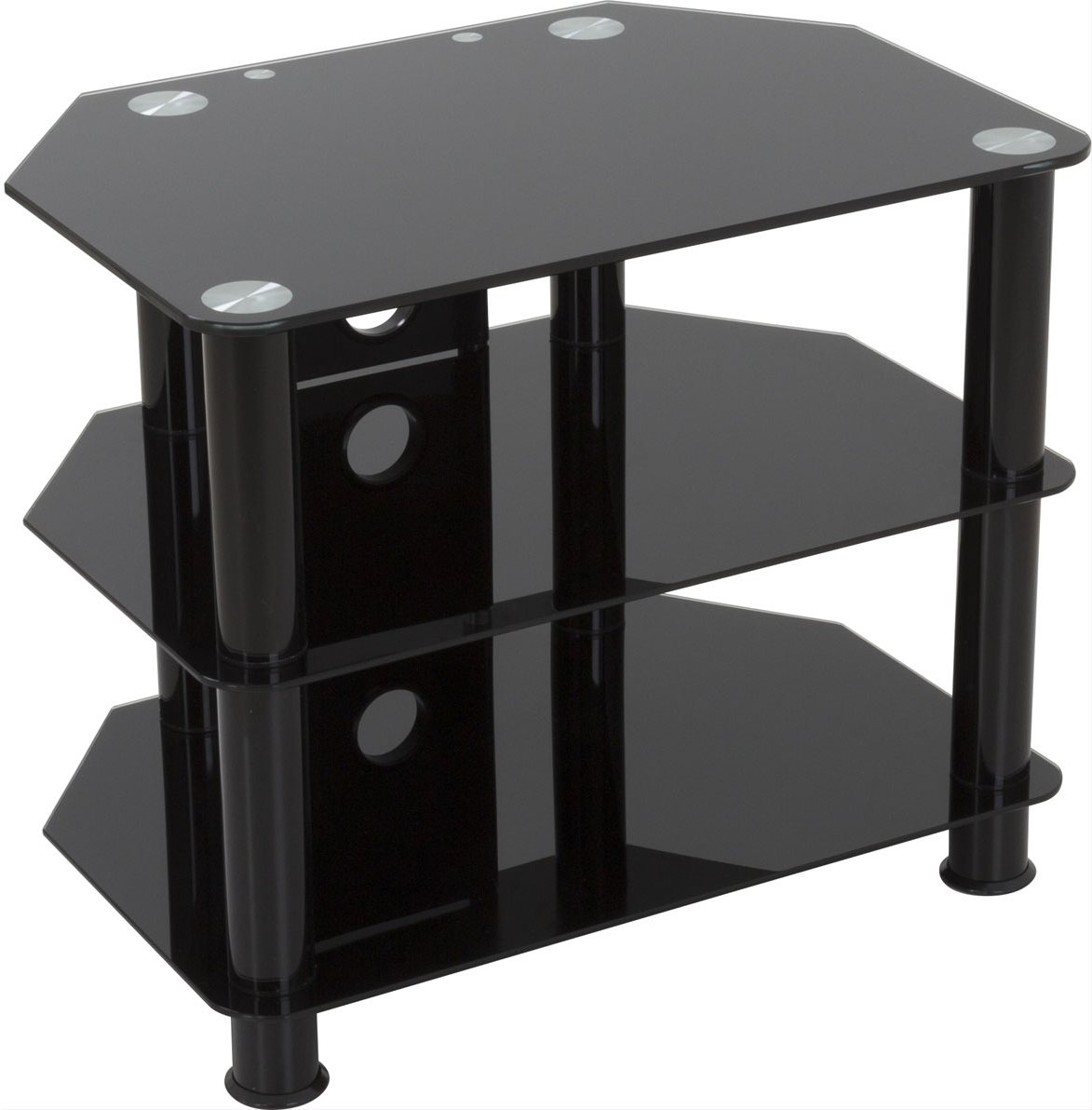Black Glass Floor Stand With Chrome Legs For TVs Up To 32 AVF