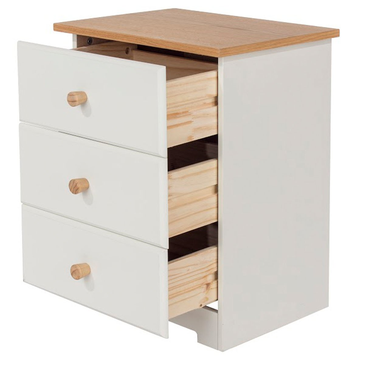 Bedside Tables Light Oak Valufurniture Lisbon 3 Drawer