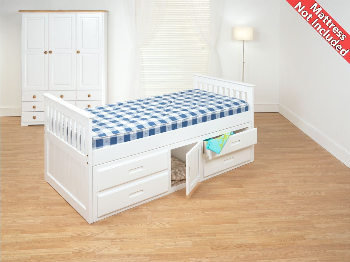 Amani Capstorage White Pine Captain Single Slat Bed With Storage 5 Drawers