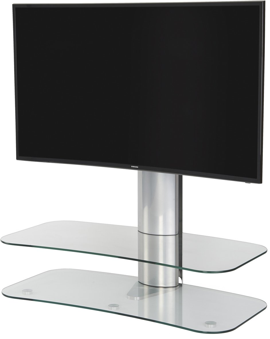 offthewall arc st clear glass u0026 silver tv stand for up