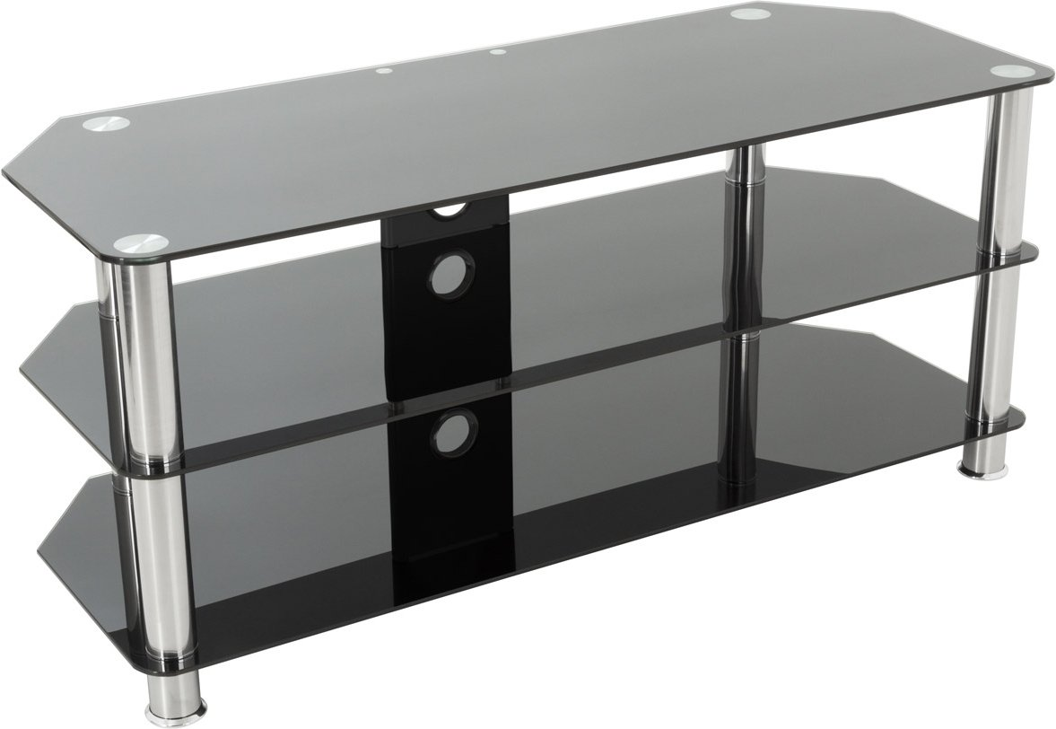 Black Gl And Chrome Legs Tv Stand