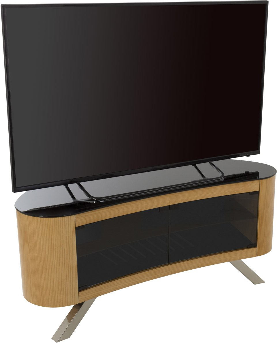 Avf bay curved tv stand for up to 55 tvs oak main