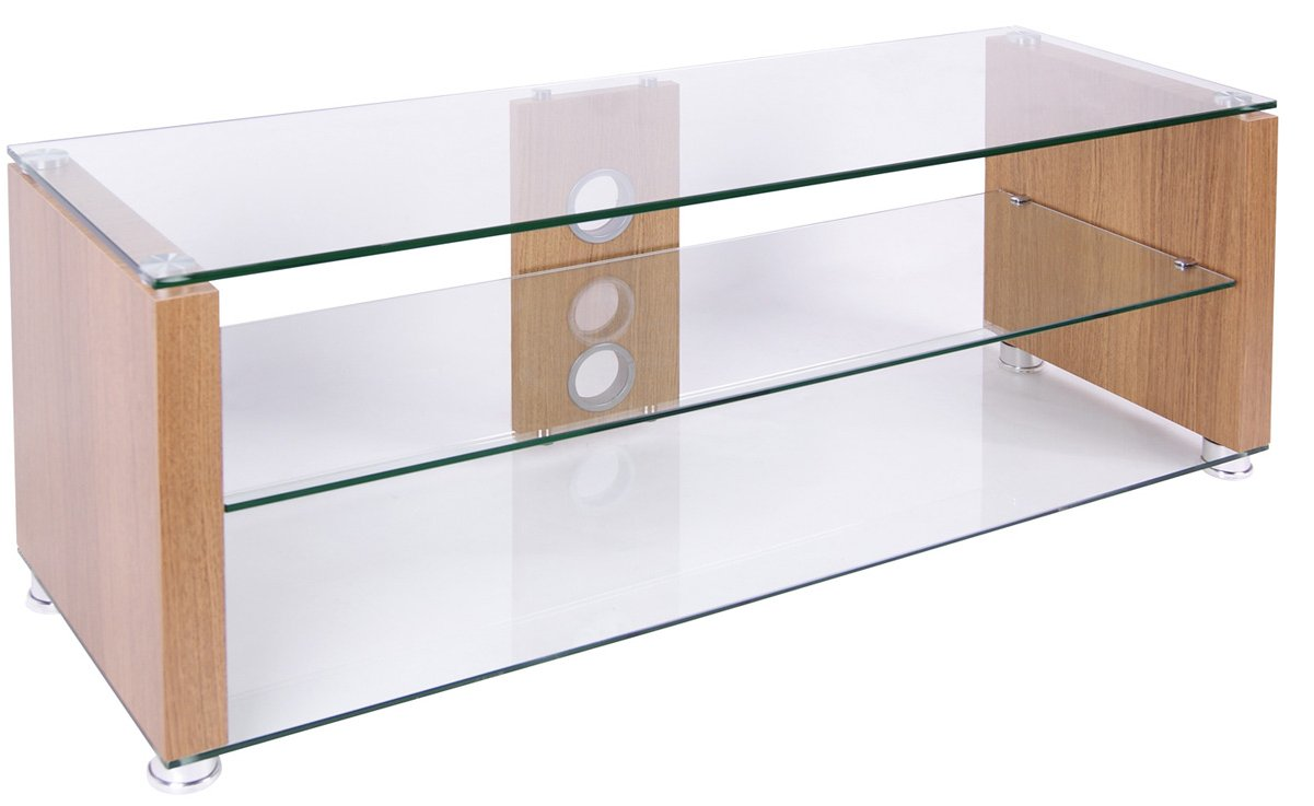 tnw elegance  oak and clear glass tv stand main image. tnw elegance  oak tv stands