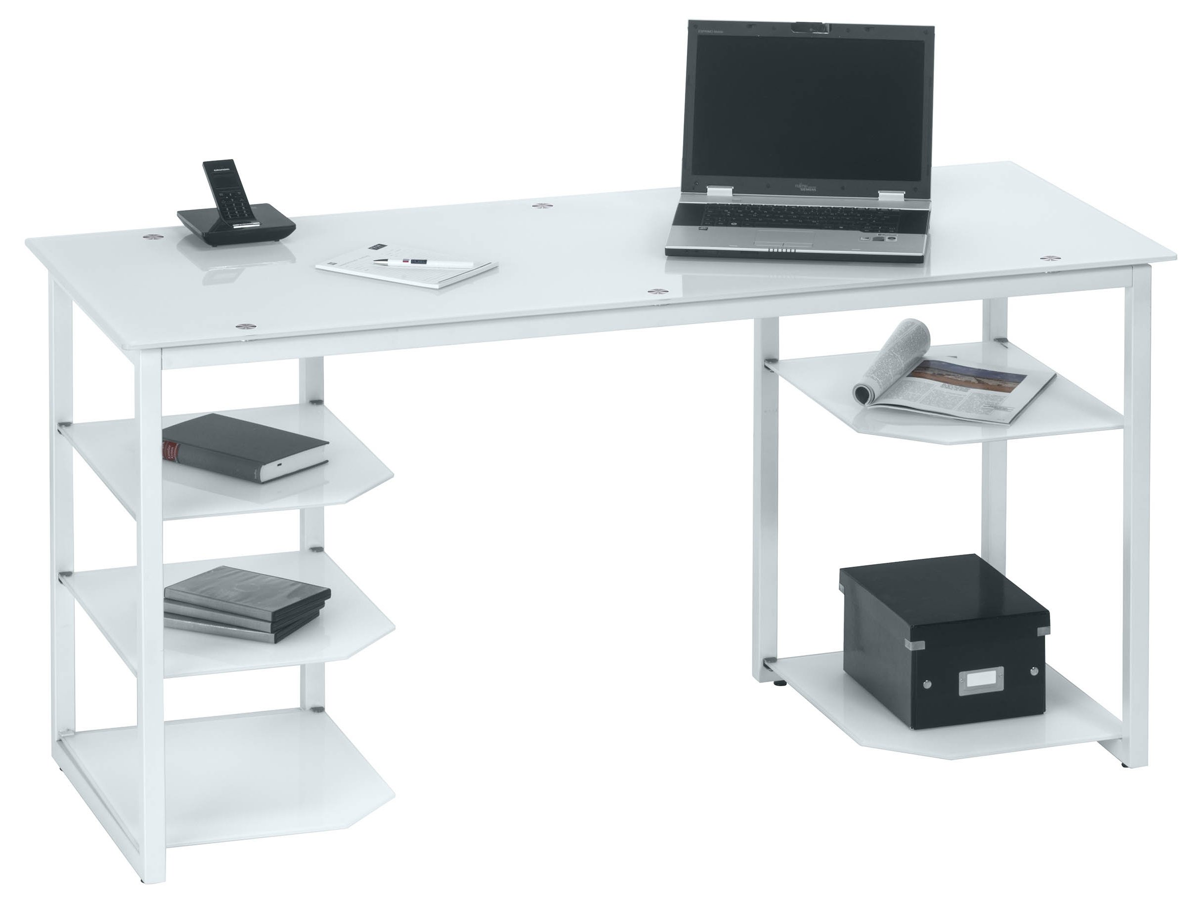 Maja Alaska Home Office Desk   White Glass U0026 White Finish Main Image