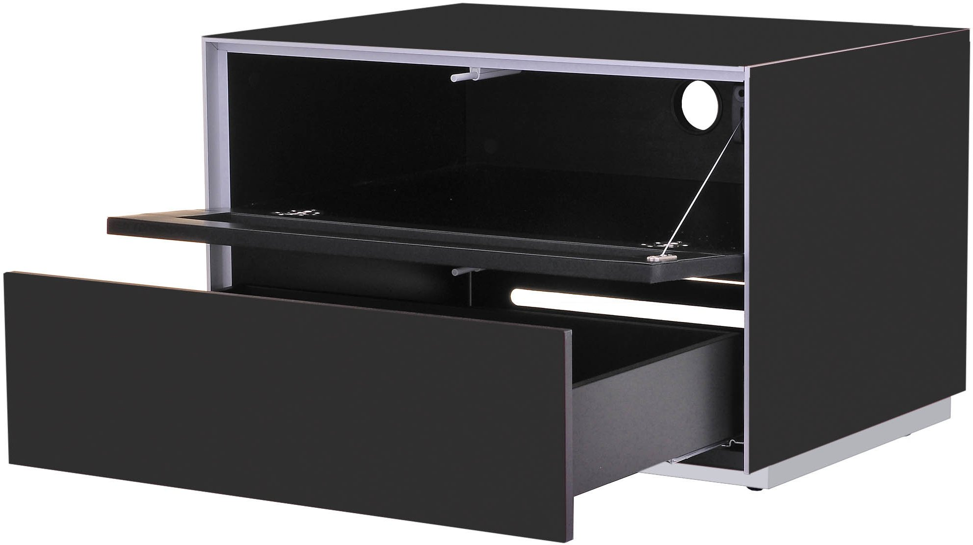 Superieur Optimum Project Iso Series Small TV Stand With Audio Fabric Shelf   Gloss  Black Alternative Image