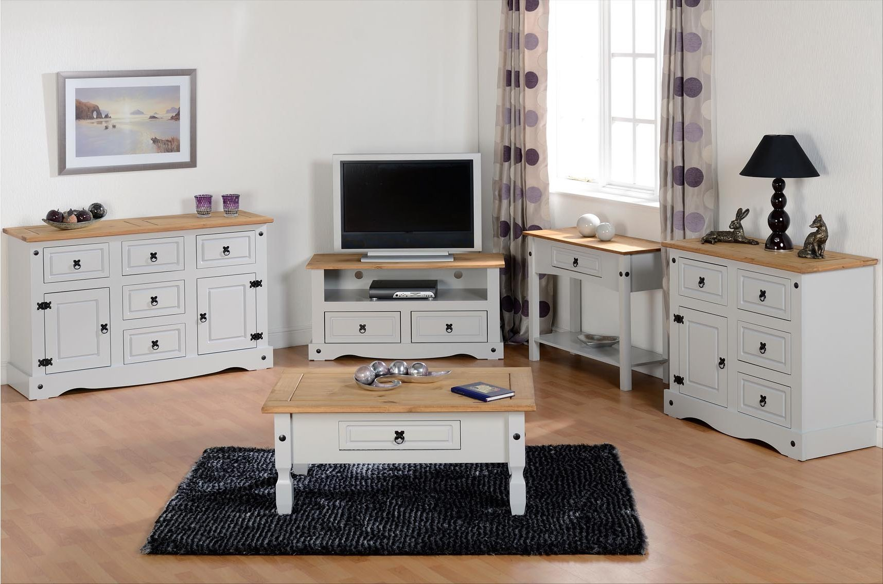 Valufurniture Corona 2 Drawer Tv Unit Grey Tv Stands