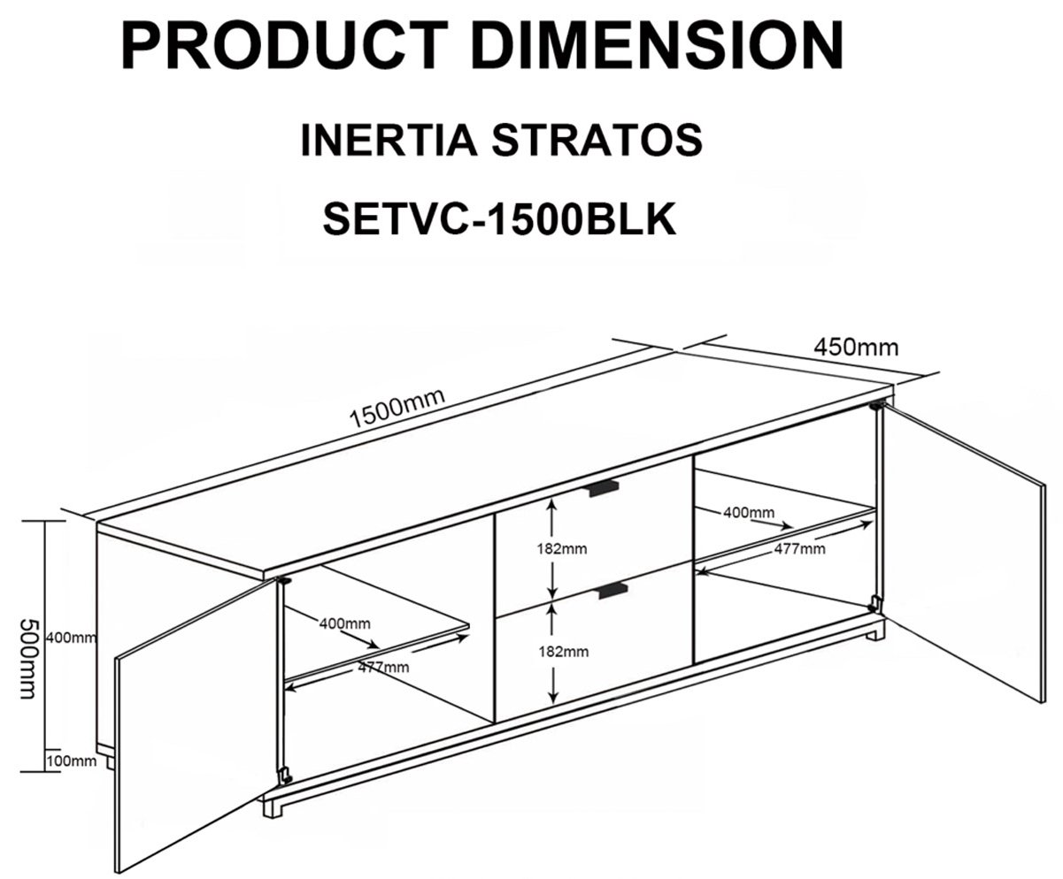 Mmt Setvc 1500blk Tv Stands # Dimension Table Tv