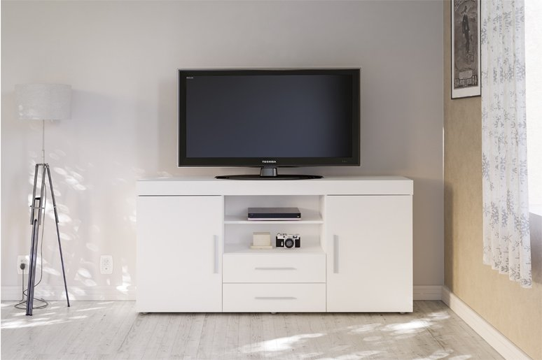 Tnw Carnaby L Tv Wht Large High Gloss Tv Unit For Up To 65 Inch White