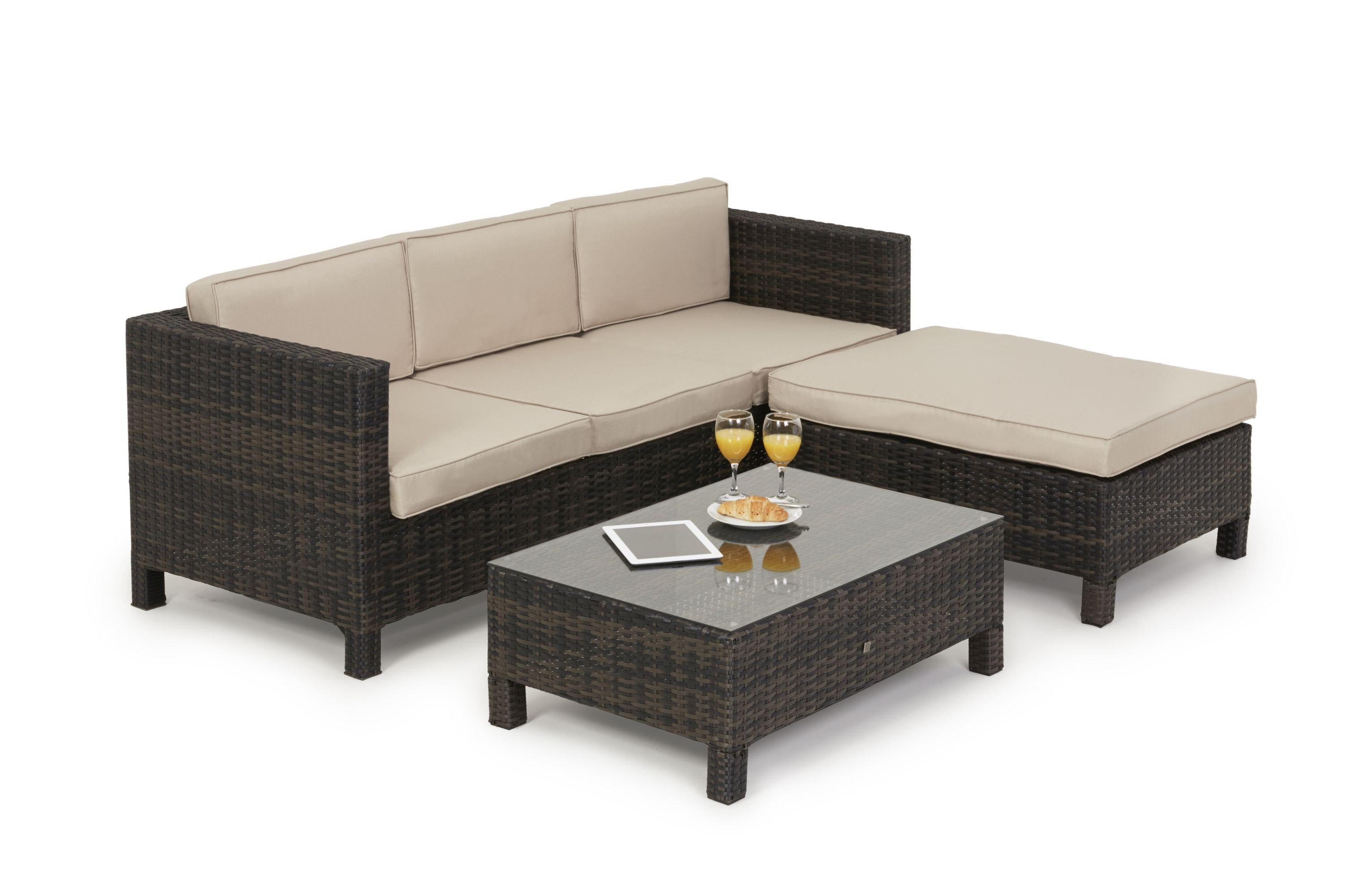 Maze Rattan LA Corner Sofa with Table in Brown and Beige