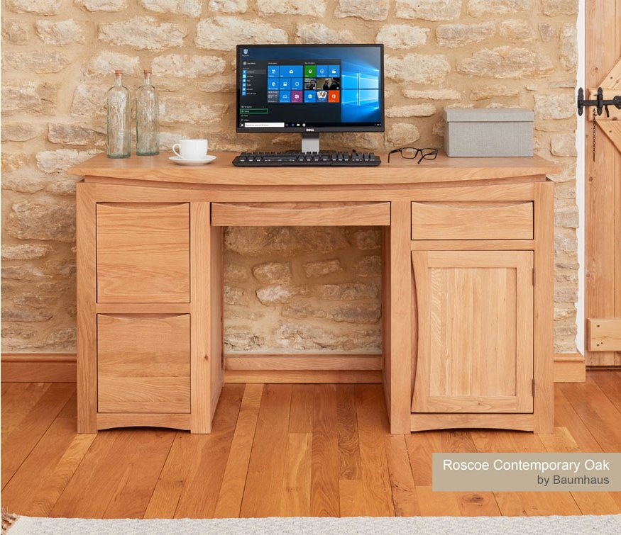 Baumhaus Roscoe Contemporary Oak Home Office Desk Main Image