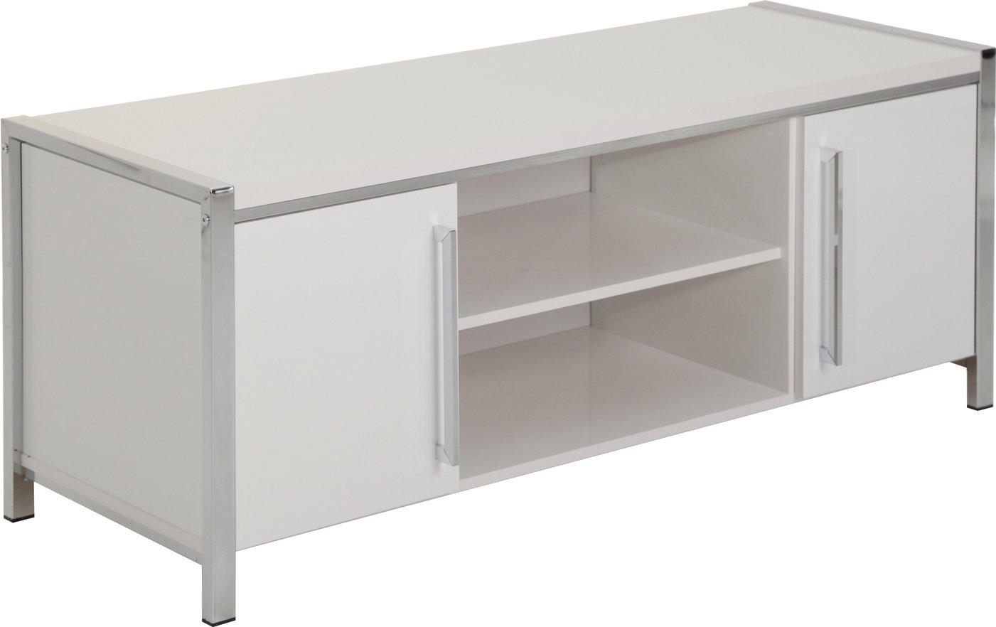 Valufurniture Charisma 2 Door 1 Shelf Flat Screen Tv Unit White Gloss Chrome