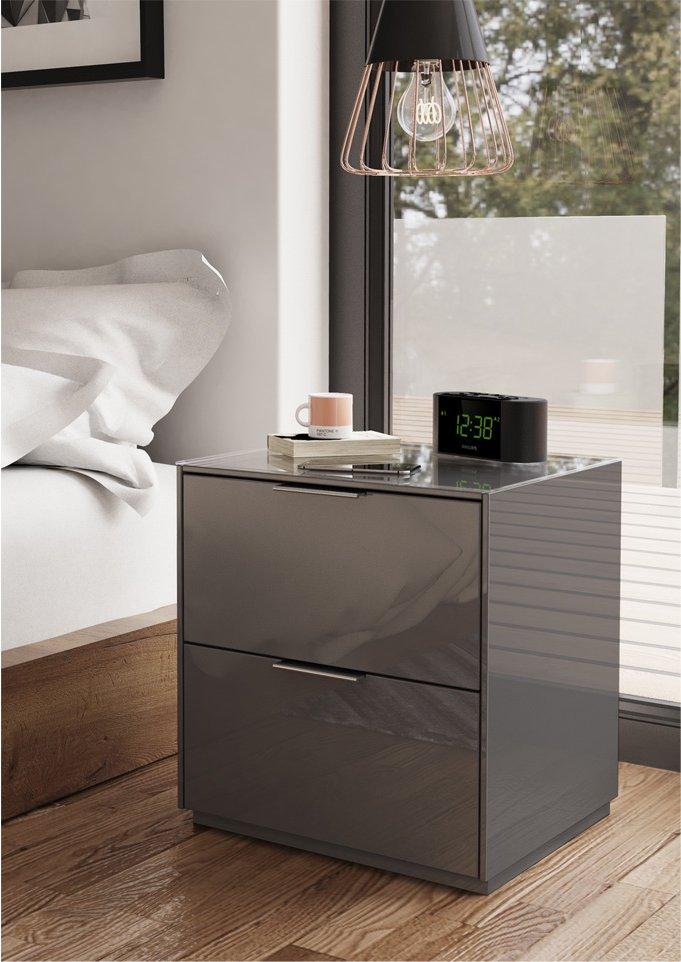 Grey Bedside Tables: Frank Olsen INTEL Bedside Table Grey PURE High Gloss