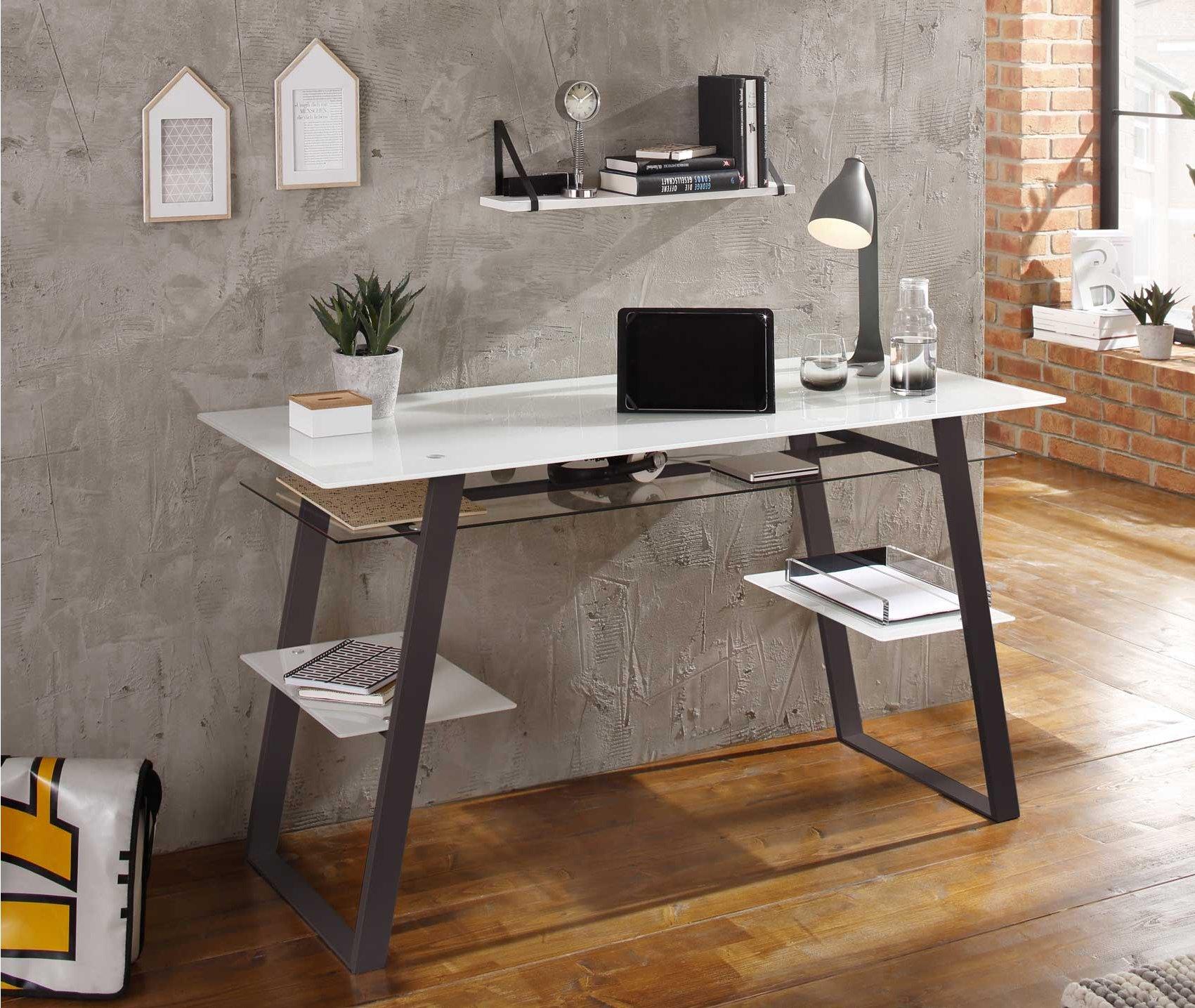 Maja 5006 9046 Kibo Glass Home Study Desk White Workstation